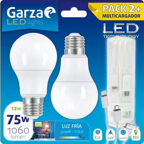 Bombilla LED estandar 12W, 1060lm, E27. 220º. Luz fría, Pack 2 + USB