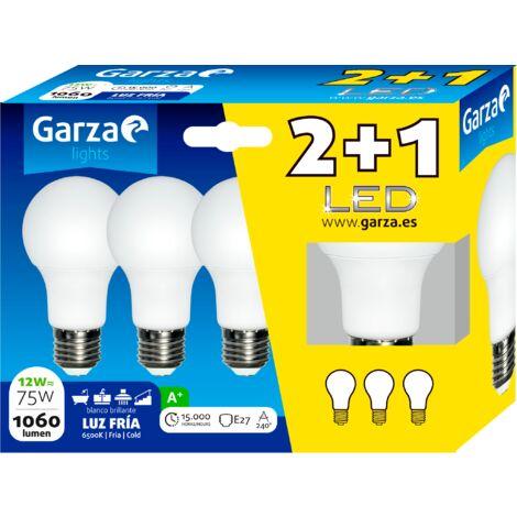 Bombilla LED estándar 12W, casquillo E27, 240º, 1060 lumenes, Luz fría, pack 3