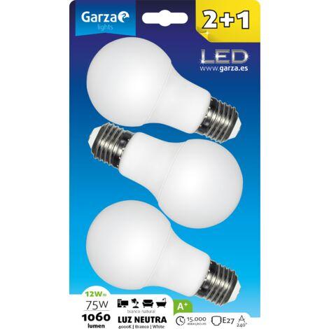 Bombilla LED estándar 12W, casquillo E27, 240º, 1060 lumenes, Luz neutra, pack 3
