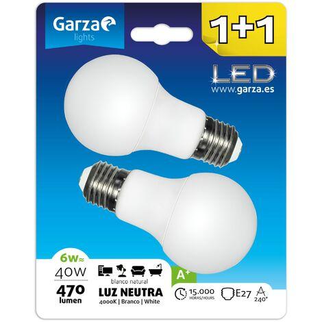 Bombilla LED estándar 6W (equivale a 40W) casquillo E27 240º 470 lumenes, Luz neutra Blister 1+1
