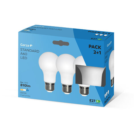 Bombilla LED estándar 9W, casquillo E27 240º 810 lumenes, Luz fría Pack 2+1
