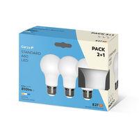 Bombilla LED estándar 9W, casquillo E27, 240º, 810 lumenes, Luz neutra, pack 3