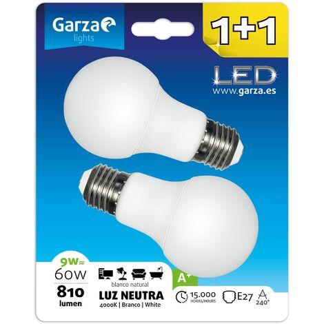 Bombilla LED estándar 9W (equivale a 60W) casquillo E27 240º, 810 lumenes, Luz neutra, Pack 2