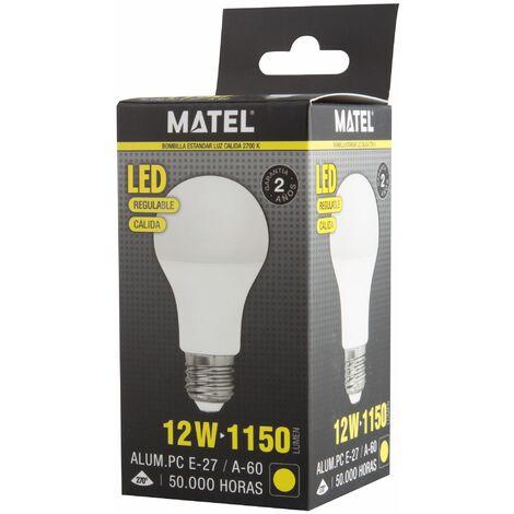 Bombilla LED estándar regulable E27 12w cálida 1150lm