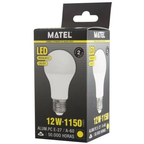 BOMBILLA LED ESTANDAR REGULABLE E27 12W. CALIDA