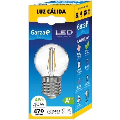 Bombilla LED Filamento Clear Esférica 4W, 470 lumenes, E27, Luz cálida