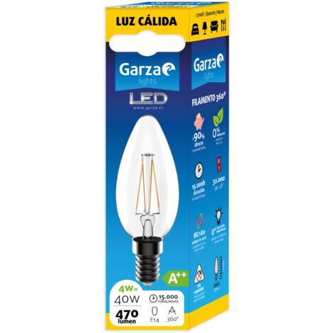 Bombilla LED Filamento Clear Vela 4W, 470 lumenes, E14, Luz cálida