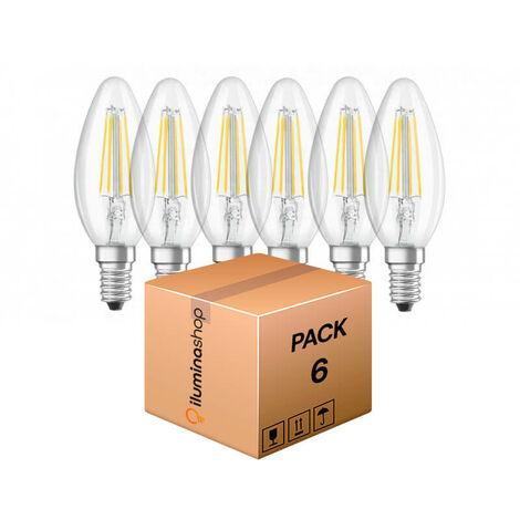 Bombilla LED Filamento E14 C35 4.5W (Pack 6 Unidades)