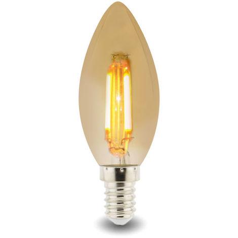 Bombilla LED Filamento E14 C37 4W Ámbar Blanco Cálido 2300K | IluminaShop