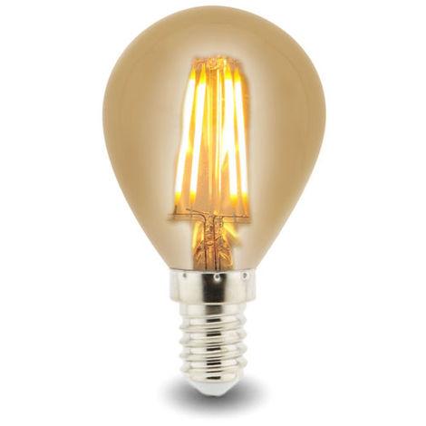 Bombilla LED Filamento E14 G45 4W Ámbar Blanco Cálido 2300K | IluminaShop