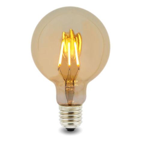 Bombilla LED Filamento E27 G125 6W Ámbar Blanco Cálido 2300K | IluminaShop