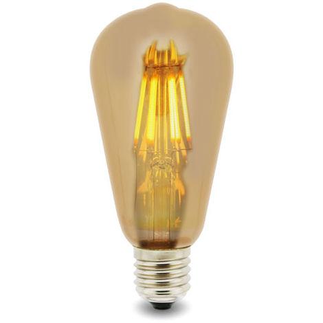 Bombilla LED Filamento E27 ST64 6W Ámbar Blanco Cálido 2300K | IluminaShop