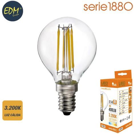 Bombilla Led Filamento Esferica 4W 400 Lumens E14 3.200K Luz Calida Serie 1880 - NEOFERR