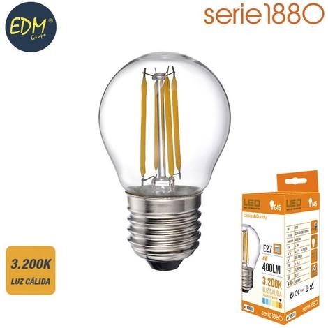 Bombilla Led Filamento Esferica 4W 400 Lumens E27 3.200K Luz Calida Serie 1880 Edm