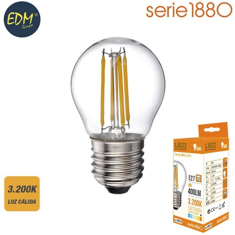 Bombilla Led Filamento Esferica 4W 400 Lumens E27 3.200K Luz Calida Serie 1880 - NEOFERR