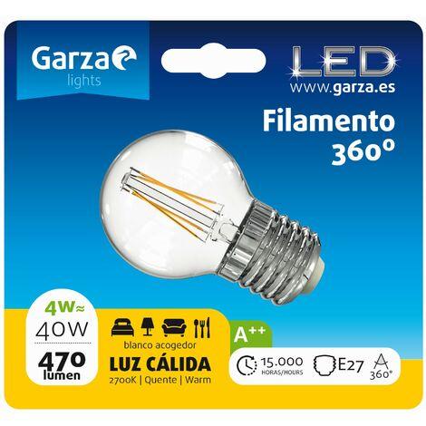 Bombilla LED filamento esférica 4W, E27, 470 lumenes, Luz cálida