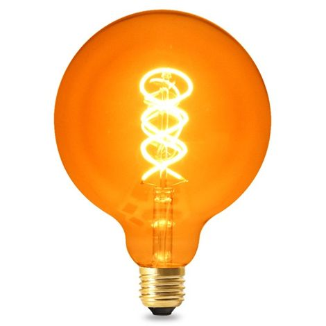 Bombilla LED Filamento Espiral E27 G125 4W Ámbar Blanco Cálido 2300K | IluminaShop