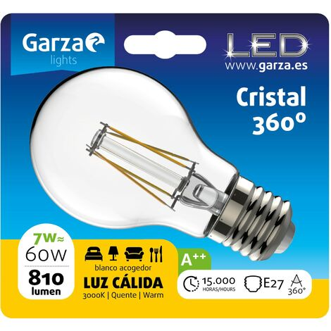 Bombilla LED filamento estándar 7W, E27, 810 lumenes, Luz cálida