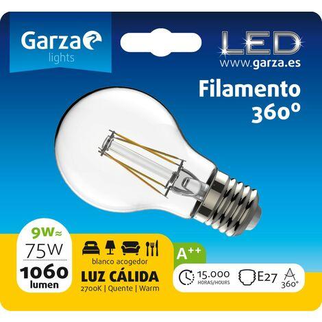 Bombilla LED filamento estándar 9W, E27, 360º, 1060 lumenes, Luz cálida