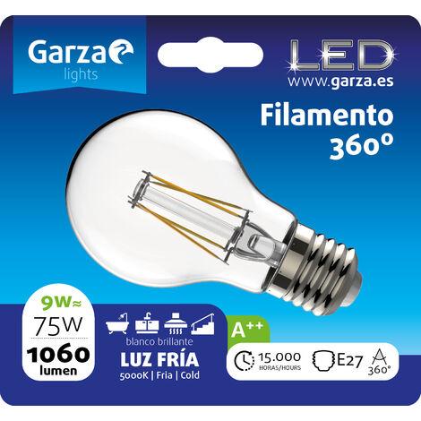 Bombilla LED filamento estándar 9W, E27, 360º, 1060 lumenes, Luz fría