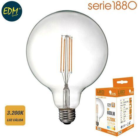 Bombilla led filamento globo diam. 125mm 6w 600 lumen E27 3200k luz calida EDM 98603
