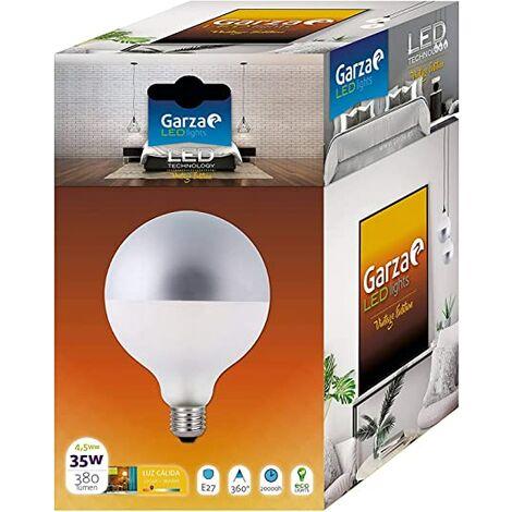 Bombilla LED filamento Globo G125 Plata 4,5W 380lm equivalente a 35W. E27. 360º, Luz cálida