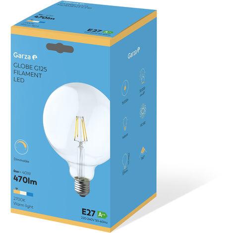 Bombilla LED filamento largo Clear Globo G125 4W 380 lumenes equivalente a35W. E27. 360º, Luz cálida
