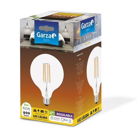Bombilla LED filamento largo Clear Globo G125 8W 900 lumenes equivalente a 60W. E27. 360º, Luz cálida