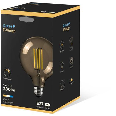 Bombilla LED filamento largo Gold Globo G125 4W 280 lumenes equivalente a 30W. E27. 360º, Luz cálida