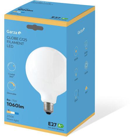 Bombilla LED filamento largo Opal Globo G125 7W 806 lumenes equivalente a 60W. E27. 360º. Luz cálida