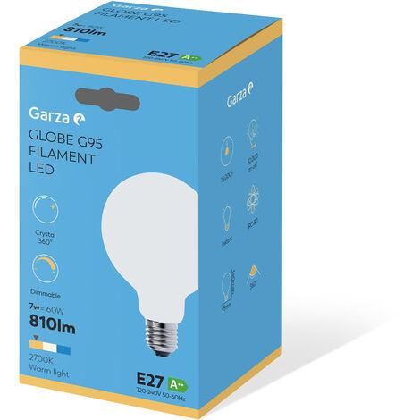 Bombilla LED filamento largo Opal Globo G95 7W 806 lumenes equivalente a 60W. E27. 360º. Luz cálida