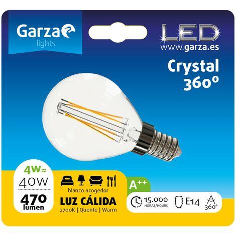 Bombilla LED filamento opal esférica 4W, E14, 470 lumenes, Luz cálida (equivale a 40W) - Vintage Edition