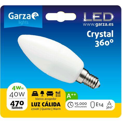 Bombilla LED filamento opal vela 4W, E14, 470 lumenes, Luz cálida (equivale a 40W) - Vintage Edition