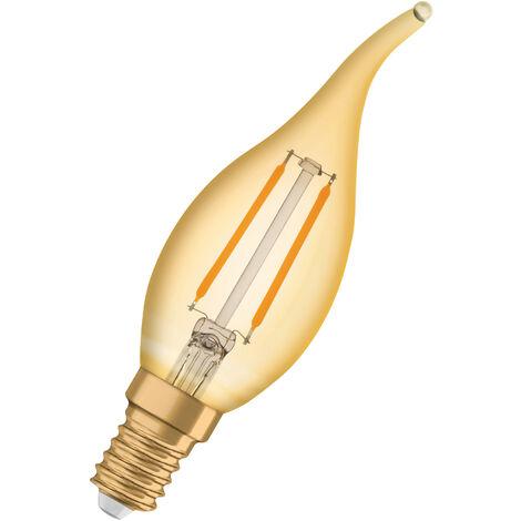 Bombilla LED Filamento Retro Vela E14 Oro 1.5W 2400K Luz Calida OSRAM
