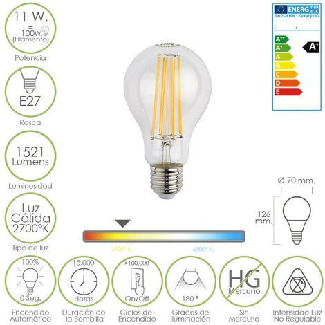Bombilla led filamento standar e27. 11 w. 100 w. 1521 lúmenes. luz calida. 2700k.