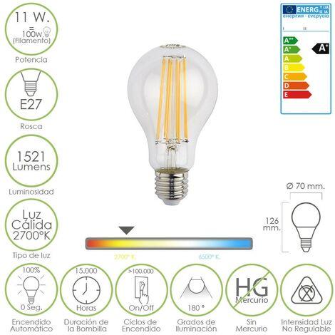 Bombilla led filamento standar e27 11 w. 100 w. luz cálida 1521 lumens