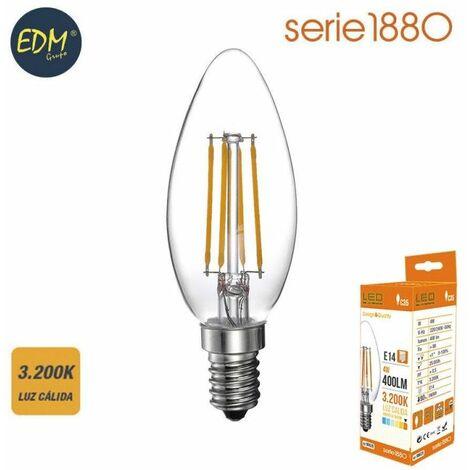 Bombilla led filamento vela 4w 400 lumen E14 3200k luz calida EDM 98620