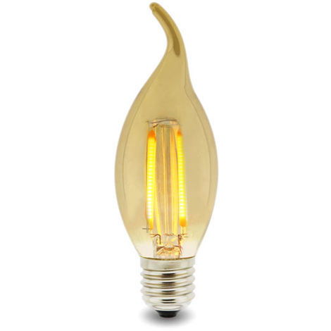 Bombilla LED Filamento Vela E14 C35 Punta 4W Ámbar Blanco Cálido 2300K | IluminaShop