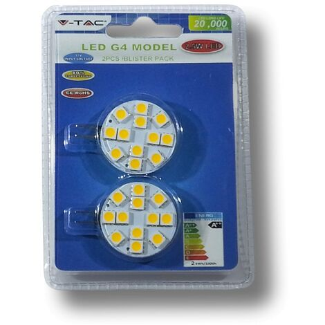 Bombilla LED G4 12V 2,5W 3000K Blanco Calido Blister 2 uds
