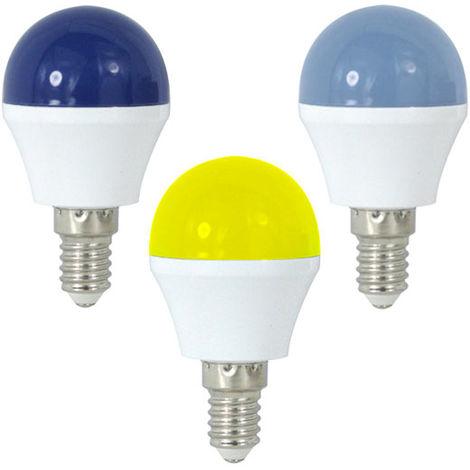 Bombilla LED G45 E14 1W de Colores / Azul y Amarillo