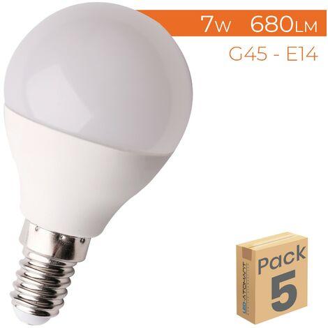 Bombilla LED G45 E14 7W 680LM A++ | Pack 50 Uds. - Blanco Cálido 3000K