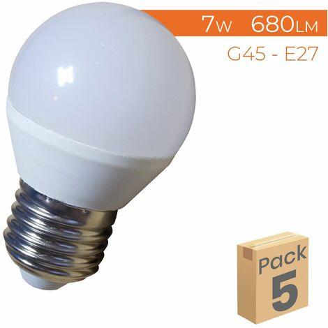 Bombilla LED G45 E27 7W 680LM A++ | Pack 100 Uds. - Blanco Frío 6500K