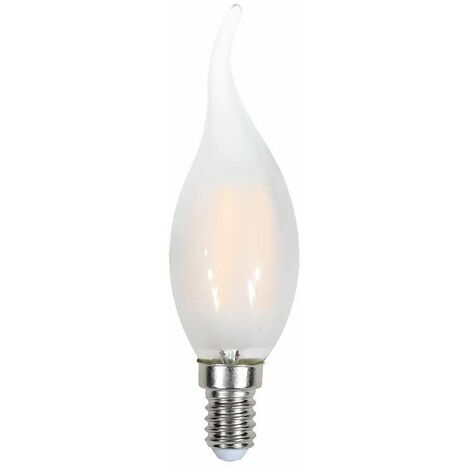 Bombilla led e14 Filamento vela efecto llama Frost Cover E14 4W 300° Temperatura de color - 6400K Blanco frío
