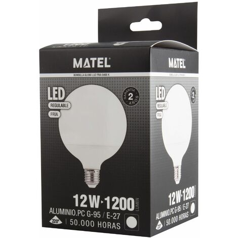 Bombilla LED globo G95 regulable E27 12w fría 1200lm