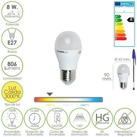 Bombilla led globo mini rosca e27 (gorda). 8 watt. equivale a 60 watt. 806 lumenes. luz cálida (3000º k.) a+