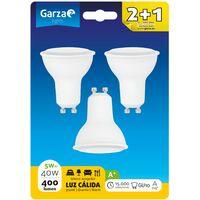 Bombilla LED GU10 5W 110º 400 lumenes 3000K, Luz cálida Blister 2+1