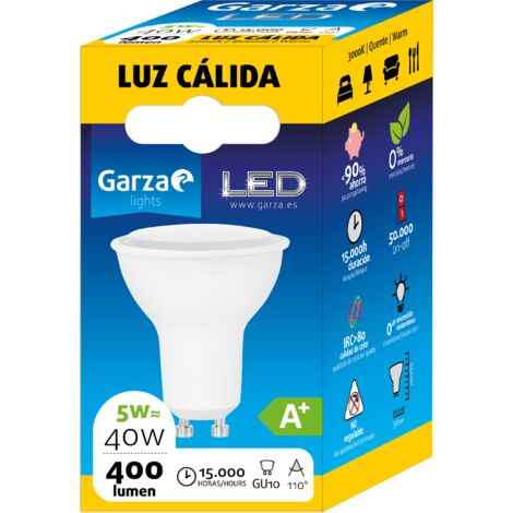 Bombilla LED GU10, 5W, 110º, 400 lumenes, Luz cálida