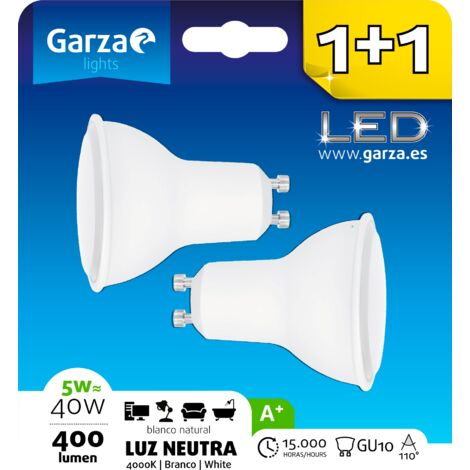 Bombilla LED GU10 5W 110º, 400 lumenes, Luz neutra, pack 2