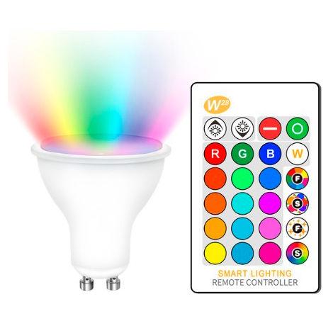 Bombilla LED GU10 5W RGB+W con Mando RGBW Opal | IluminaShop