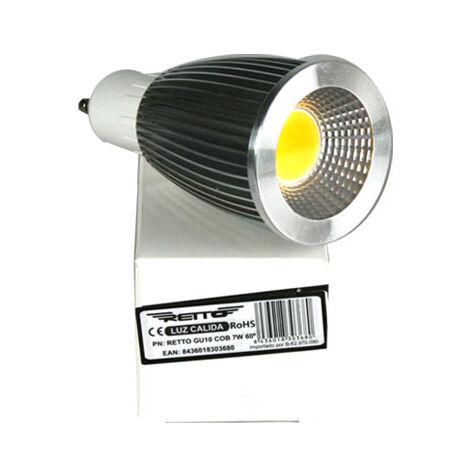 Bombilla led gu10 7w retto luz calida 220v 700lumens color 4000k led cob